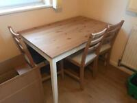 Pine/White Table + 4 Chairs