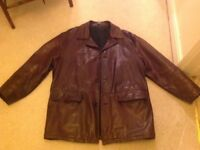 Immaculate Vintage BOSS men's brown leather winter coat!