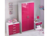 NEW 3 Piece High Gloss Pink Bedroom Set with 2 Door Wardrobe, 4 Drawer Chest, Bedside Table