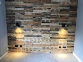 Pallet Wood Wall Planks sold in 1 Sq. meter packs Free P & P