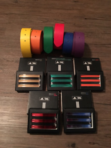 6 Colored Belts & 5 Metal Belt Buckles: All Interchangable