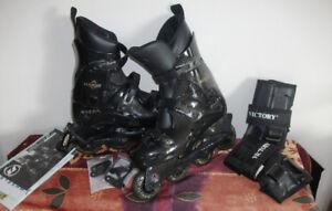 Patins à roues alignées, chaussures Nike, raquettes
