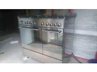 90cm dual fuel range cooker and chimney hood