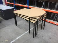OAK EFFECT STACKING 4 PIECE MEETING TABLE