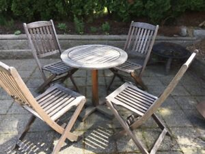 Teak table with 4 chairs and green cushions