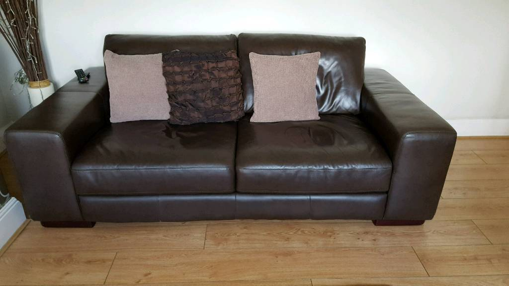 Reduced 3 2 Seater Brown Leather Sofas And Foot Stool