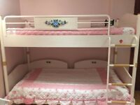 A set of Cilek Flora bunk bed and bedside table, bookcase and study desk in a very good condition