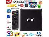 EX 1080P HD Android 6.0 Quad-core Cortex-A53 2GB+8GB 4K*2K 3D WiFi Smart TV Box