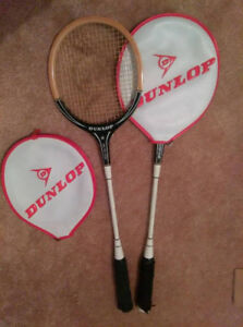 Pair of Dunlop squash rackets with cover