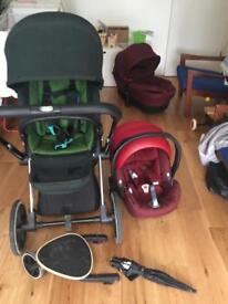 Cybex Priam stroller, car seat, bassinet, buggyboard and sunshade