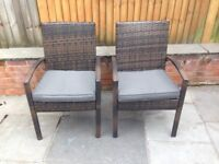 Outdoor chairs with padded cushions