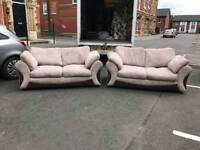 3 and 2 seater sofa in brown corduroy and fabric £145