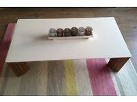 White Gloss & Walnut Coffee Table