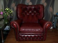 sofaChesterfield Leather Armchair original Oxford Red Very Comfy can deliver Manchester or near