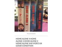 SET OF 4 VHS VIDEO CASSETTES OF HOME ALONE & HONE ALONE 2 & 3 & 4 GOOD CONDITION