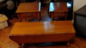 Solid Maple Coffee Table c/w 2 End Tables