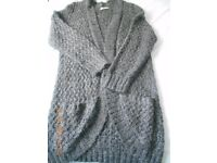 Ladies Grey long length knitted jacket size 20