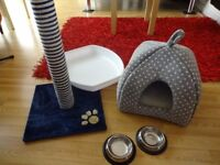 Cat bed, scratch post, litter tray and two feeding bowls