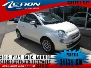 2015 Fiat 500 Convertible Lounge,auto,air,bluetooth
