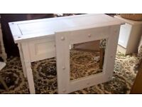 console table with mirror - white and grey