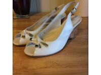 White open toe wedge sandals - size 4