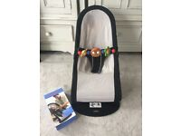 Baby bjorn bouncer with brand new seat cover and wooden toy