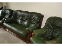 LEATHER AND SOLID OAK 3 SEATER SOFA AND 2 ARMCHAIRS,
