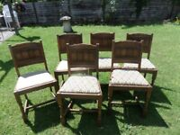 Set of 6 Oak Dinning chairs 1940;s-50,