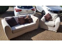 2 seater sofabed and armchair