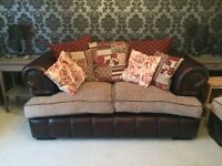 2 seater sofa and foot rest, great condition, part leather brown