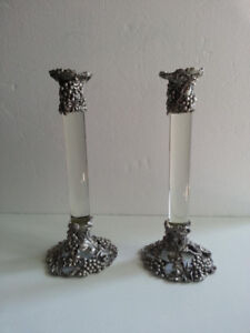Seagull Pewter / Crystal Candlesticks