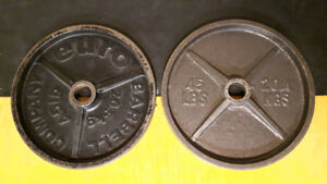 """2 x 45lb 2"""" Olympic Weight Plates"""