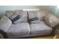 Large grey cord sofa with and swivel armchair