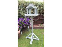 Freestanding Bird table feeder in sea grass green/blue cuprinol wood preserver