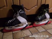 2 sets of ice skates with guards,,, powerline 120 ccm,, in fair condition ,,