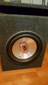 "12"" MTX sub w/ box & amp"