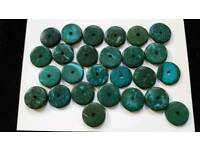 26 x 20mm MOTTLED TEAL & TURQUOISE FLAT BEADS - BRAND NEW