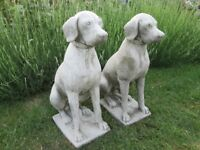 large pair of stone/concrete labrador/hunting dog garden ornaments