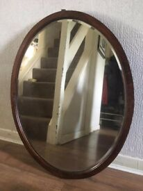 Large Antique Bevelled Edge Mirror in Wooden Frame. Excellent Condition