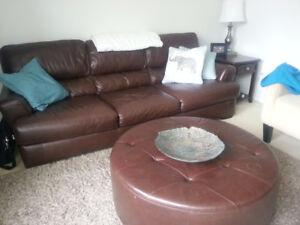 7 Foot Natuzzi Leather Couch w/ Ottoman