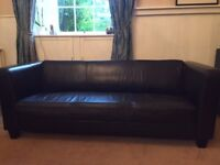 Chocolate brown leather sofas - 2 and 3 seater