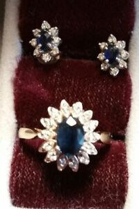 Sapphire and Diamond Ring with earrings