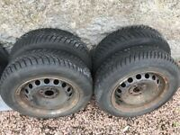 4 x 165/70R14 85T Nearly New Winter Tyres on Fiat steel rims but fit other cars, see pics.