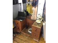 Beautiful antique / vintage vanity table dresser solid wood with trifold make up mirror