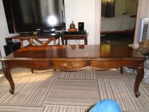 SOLID HARDWOOD INLAY FRENCH PROVINCIAL COFFEE TABLE-RETRO 60'S