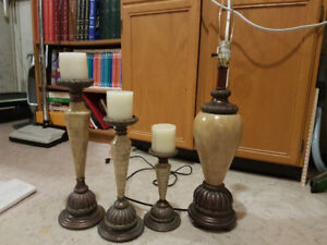 Lamp and Candle Holders (with new candles)