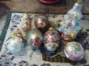 Collection Of 7 Beautiful Large Blown Glass Christmas Ornaments