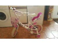 Girls White and Pink Sparkle Bike with Stabilizers