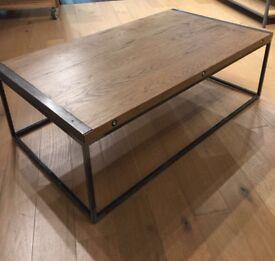 Industrial style large oak coffee table