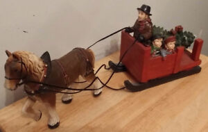 Horse and Sleigh with Christmas Tree